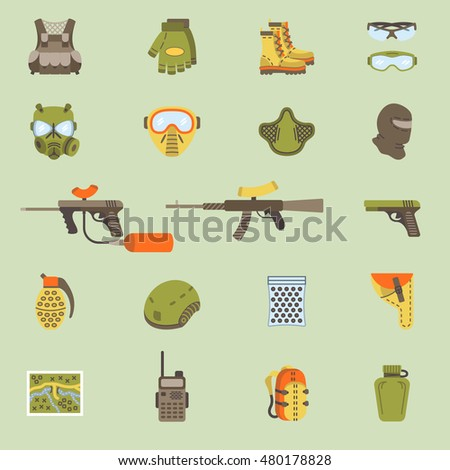 Vector set of black flat flat icons for paintball and airsoft equipment and outfit