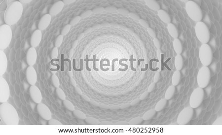 3d render abstract background. Tunnel of random objects. Abstract mesh on light background with place for text. vortex  tunnel structure that works great as a background. Different objects #480252958