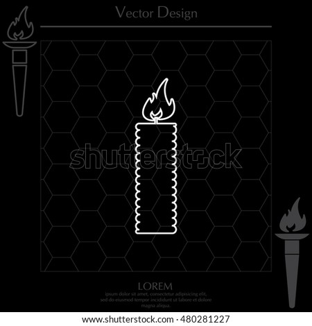 Candle line icon - Vector #480281227