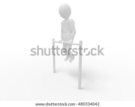 3d human - stick man workout bar, white background #480334042