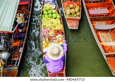 Damnoen Saduak floating market, The famous attractions of Ratchaburi. Launched to the world as the source. The first tour since 2510. #480469753