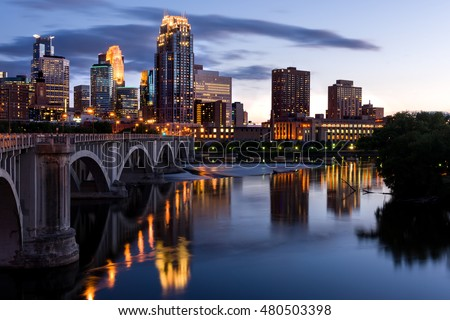 Minneapolis Minnesota Downtown at Sunset on the River