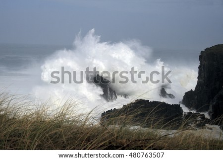 waves crashing,Tour of Spain, the Aguillóns, separating the Atlantic and Cantabrian oldest rocks in the world, Galicia, barnacles, photos of giant waves, fotografías de Munimara, munimara.com #480763507