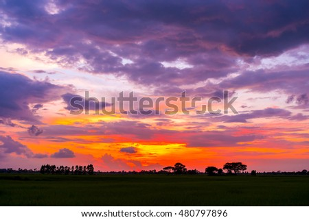Sunset / sunrise with clouds, light rays on field at countryside Thailand #480797896