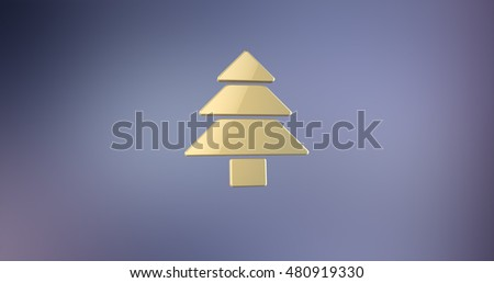 Pine Tree Gold 3d Icon   #480919330