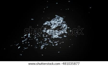 Water splash On Black Background 3D Rendering #481035877