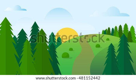 Summer Landscape Road Blue Cloud Sky With Sun Green Grass Forest Flat Design Vector Illustration #481152442