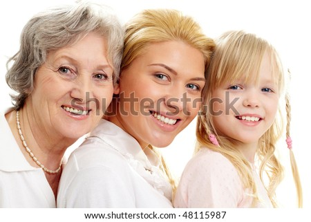 Conceptual image of old lady, young woman and girl #48115987
