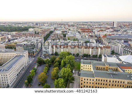 Aerial view over the city of Berlin Germany - BERLIN / GERMANY - AUGUST  31, 2016 #481242163