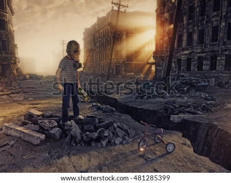 ruins of a city with and the boy  in the street. Photo combination  concept Royalty-Free Stock Photo #481285399