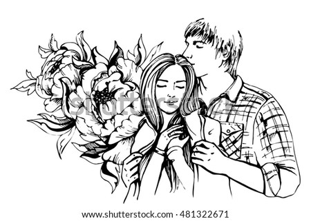 Young couple in love.Sensual sketch portrait of young stylish fashion couple. Embraces of a loving couple, couple hugging and flirting. Hand drawn illustration #481322671