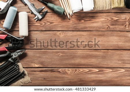 Instruments on wooden table #481333429