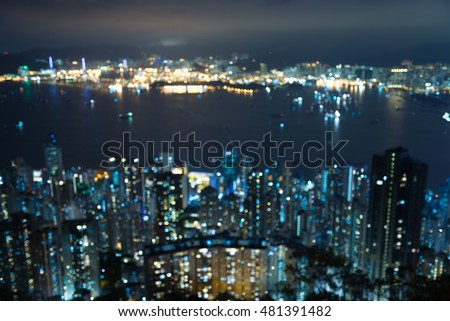 Hong Kong cityscape defocused background in twilight evening from viewpoint the peak #481391482