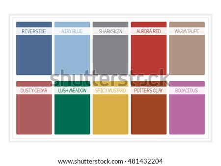 Fall Colors for 2016. Colors of the Year, Palette Fashion Colors. with Name. Vector Illustration