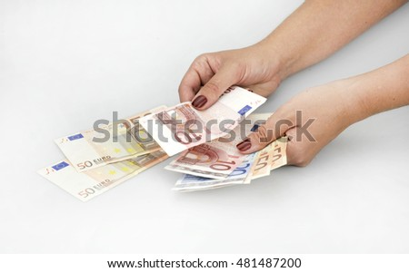 hands with euro banknotes #481487200