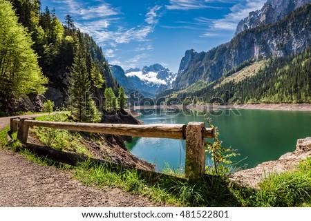 Sunny sunrise at Gosausee lake in Gosau, Alps, Austria #481522801