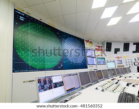 The central control room of nuclear power plant. Fragment of nuclear reactor control panel. Royalty-Free Stock Photo #481560352