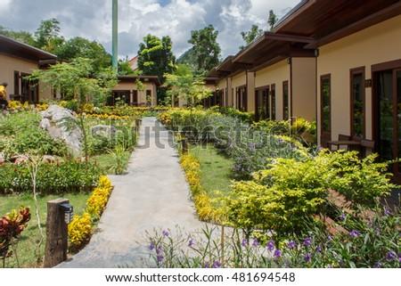 Garden stone walkway #481694548