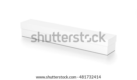 White long wide horizontal rectangle blank box with cover from top side angle. 3D illustration isolated on white background. #481732414