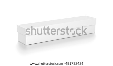 White long wide horizontal rectangle blank box with cover from top side angle. 3D illustration isolated on white background. #481732426