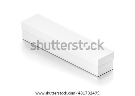 White long wide horizontal rectangle blank box with cover from isometric angle. 3D illustration isolated on white background. #481732495
