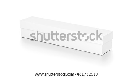 White long wide horizontal rectangle blank box with cover from top side angle. 3D illustration isolated on white background. #481732519