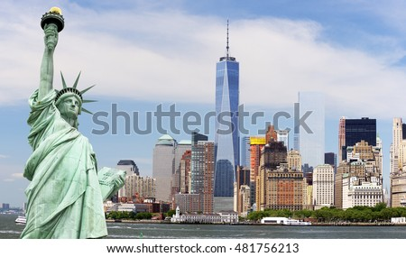 The Statue of Liberty, Freedom Tower and Manhattan,  New York, USA #481756213
