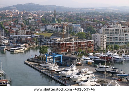 yachts and boats in port Rimini Italy #481863946