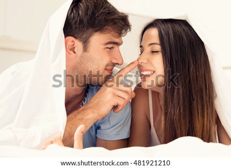 Young couple playing under the sheets #481921210