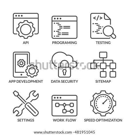 web development icons set, thin line, black color