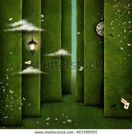 Conceptual illustration of green maze and fantasy objects