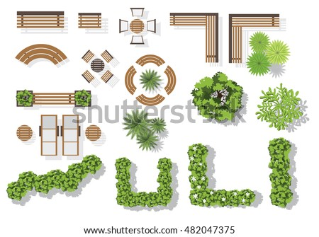 Set of vector wooden benches and treetop symbols. Collection for landscaping, top view, plan, Royalty-Free Stock Photo #482047375