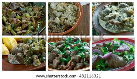 Food set of different  livers, gizzards  meat . collage. #482116321