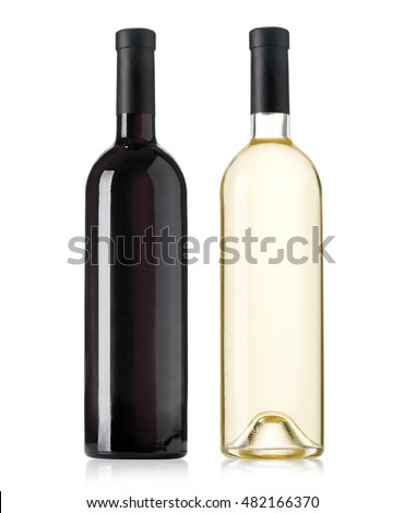 Red and white wine bottles on white background #482166370