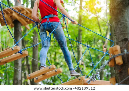 Woman on the roping park #482189512