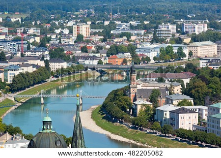 Top view of the Salzach river and the old city in center of Salzburg, Austria, from the walls of the fortress #482205082