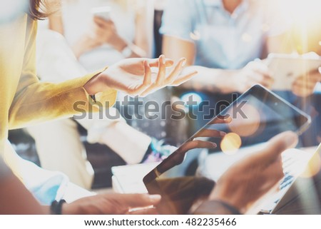 Closeup Startup Diversity Teamwork Brainstorming Meeting Concept.Business Team Coworker Analyze Strategy Laptop Process.Brainstorm People Working Start Up.Group Young Hipsters Using Gadget Hand Flares #482235466