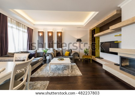 Luxury living room interior with fireplace #482237803