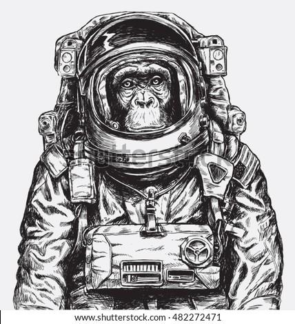 Hand Drawn Monkey Astronaut Vector