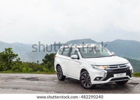 Hong Kong, China June 29, 2016 : Mitsubishi Outlander PHEV 2016 Test Drive Day on June 29 2016 in Hong Kong. #482290240