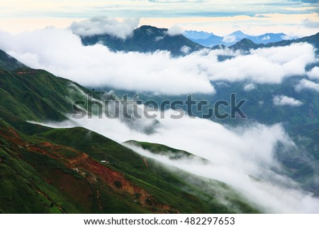 Beautiful landscape on the mountain above clouds, Vietnam most view for travel checking on mountain. #482297653