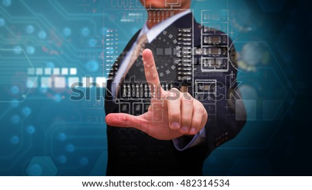 Smart Business man and technology background #482314534