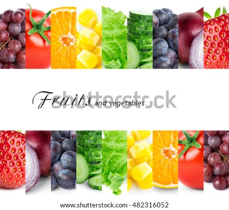 Fresh color  fruits and vegetables. Healthy food concept #482316052