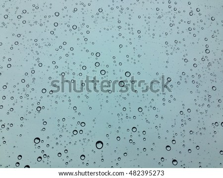 Water droplets on glass rains #482395273