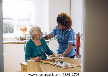 Care worker giving an old lady her dinner in her home.  #482413708