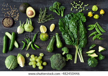 Flat lay series of assorted green toned vegetables, fresh organic raw produce #482450446