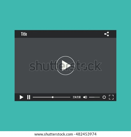 Video media player for web and mobile apps.  Vector illustration #482453974