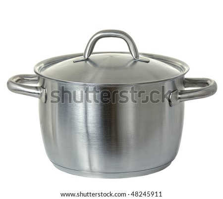stainless pan isolated on white #48245911