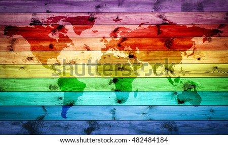 Rainbow world map with horizontal colours for wood background. Elements of this Image Furnished by NASA.