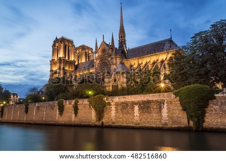Notre Dame Cathedral by night, Paris, France #482516860